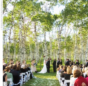The couple opted for less floral decor and instead relied on the natural beauty of the surrounding area.  