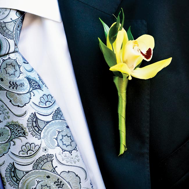 Jonah wore a single yellow cymbidium orchid.