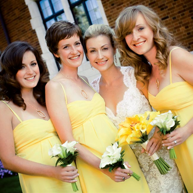 Each of Marisa's four bridesmaids wore yellow knee-length dresses with spaghetti straps and a sweetheart neckline. Gold heels, necklaces, and bangles completed the look.