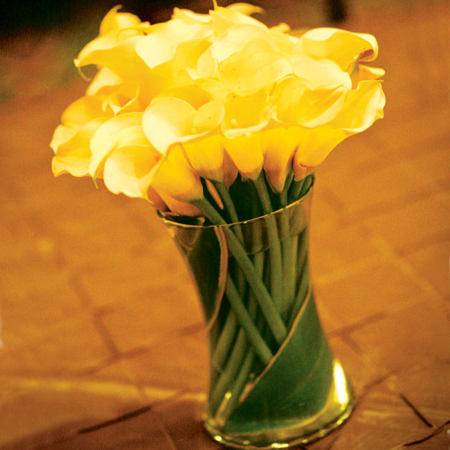 Low cylinder vases tightly packed with mini yellow calla lilies were simple yet stunning against the warmly colored tablecloths.