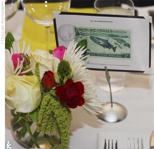 "Aruna and Steve placed large images of vintage postage stamps, from locations that were special to them, on each table. ""This allowed guests to see all the places we have visited,"" says Aruna."