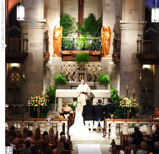 The couple exchanged traditional vows during the full Roman Catholic mass.
