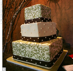 Even the cake was eco-friendly at this party! The baker used locally grown organic ingredients to make this three-tiered confection and covered it in ivory fondant scrolled in green icing and topped off with edible pearls.