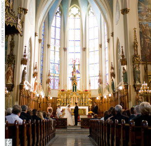 The couple exchanged vows in a traditional Catholic Mass performed by a deacon at one of Detroit's historic churches.