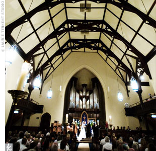 The couple exchanged vows at the First Congregational Church of Ann Arbor, the same church that the groom grew up attending.