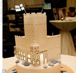 An edible replica of the The First National Building, an Ann Arbor landmark owned by the groom's family, served as the groom's cake. Two flags, one representing the couple's Finnish heritage and another proudly showing off their love for all things University of Michigan were attached to the top of the building. The cake was displayed on a tray cov ...