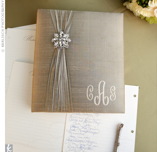 C.C. and Andrew's guests left their well wishes in an elegant guest book embellished with a crystal brooch.