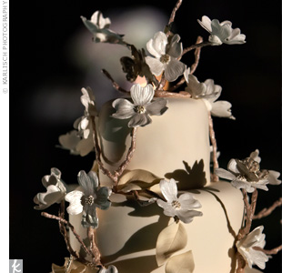 "C.C. and Andrew cut into a cake covered in glittery ganache with sculpted fondant dogwood branches wrapping around it -- and glittery silver fondant butterflies perched on the branches. ""It all went back to my theme of natural merged with chic,"" explains the bride."