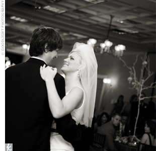 "Hayley and Jason shared their first dance to Van Morrison's ""Crazy Love"" to kick off the fun-filled reception."