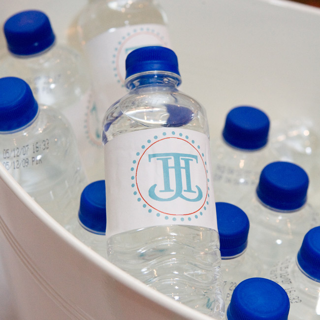 Hayley and Jason personalized their wedding down to the very last detail, even adding their signature motif to the bottled water on hand.