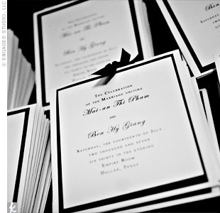 "Mai-An and Ben designed their ceremony programs in black and white with black ribbon. ""We wanted it to create a formal, black-tie feel,"" says the bride."