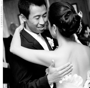 """Mai-An and Ben took two months of dance lessons to surprise their guests with a rumba. The couple danced to Michael Buble's """"Quando, Quando, Quando."""""""
