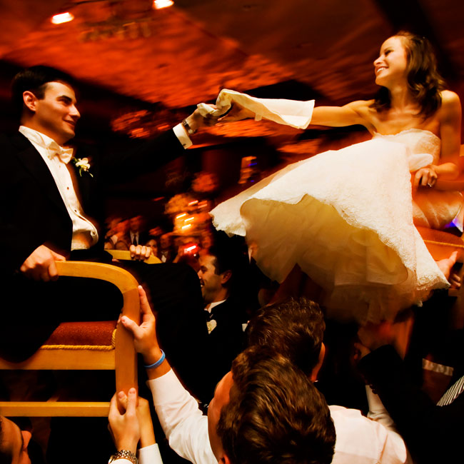 The couple danced the Horah during their reception, a tradition in Jewish weddings.