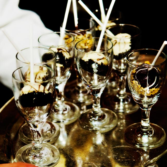 While most of the guests were on the dance floor, servers passed mini chocolate-covered cheesecake bites on a stick. The treats were a big hit, and kept the crowd going until late in the evening.
