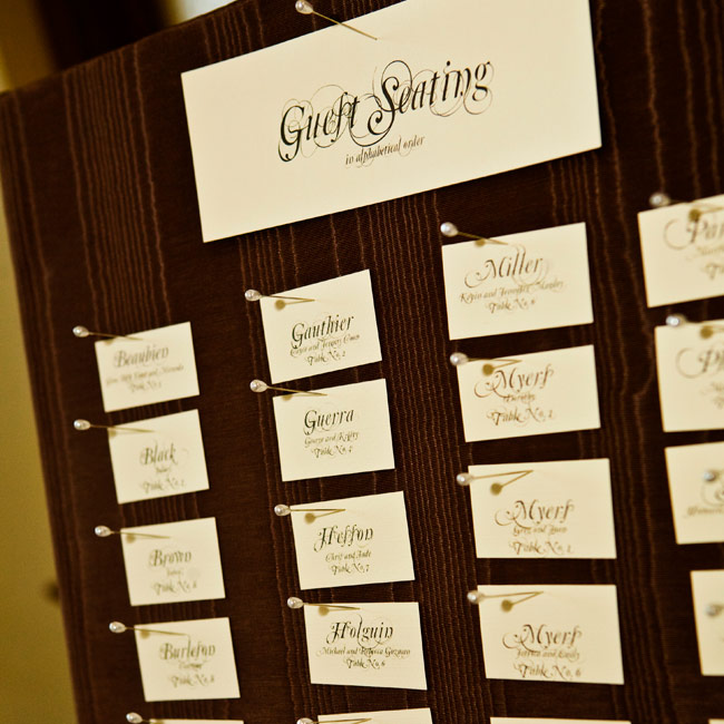Kristle and Todd's guests found their tables with ivory, cotton paper escort cards pinned to a board covered in brown taffeta.