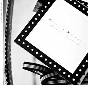 A black-and-white polka dot border dressed up white programs.