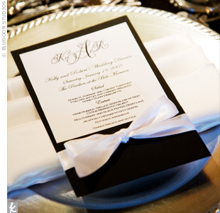 Menus printed on white linen cardstock showcased the couple's monogram.
