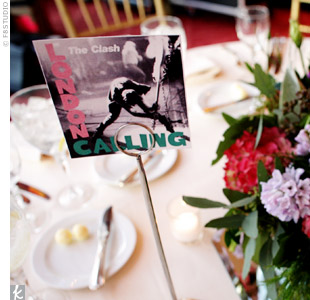 The tables were named after records that meant something to the couple, such as London Calling by The Clash.