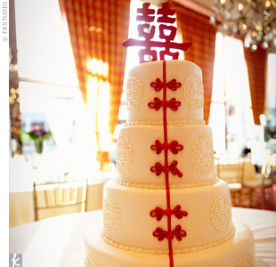 The cake was made to look like a traditional Chinese dress with Chinese frog-style knot buttons in red running down the front. A double happiness symbol was used as a cake topper.