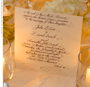 The hand-calligraphed wedding invitations foreshadowed the couple's elegant, formal wedding style.