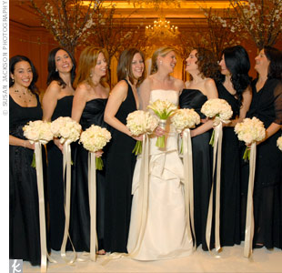 Julie's eight attendants picked their own long, black dresses.