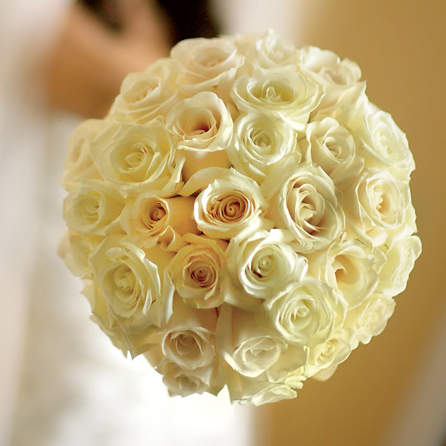 The bride carried a tight bouquet of Vendela and cream-colored roses with their stems wrapped in ivory satin ribbon.