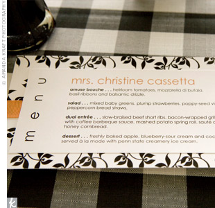 Menus were printed with each guests' name at the top. The bride and groom, both self-described foodies, wanted a menu that put an elegant twist on classic Southern barbecue.