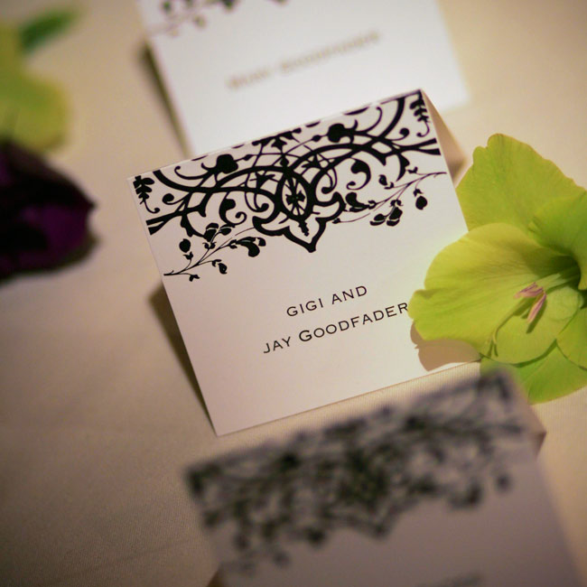 All printed materials, from the menus to the place cards, were inspired by the Wiley Valentine design of the invitations.