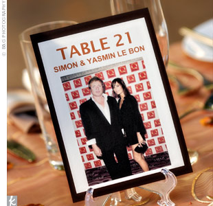 Erika and Rob decided to honor famous couples such as Simon and Yasmin Le Bon of Duran Duran fame on their table number cards.