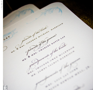 Similar to the invitations, the square programs were thermographically printed in dark brown with the couple's monogram embossed at the top.