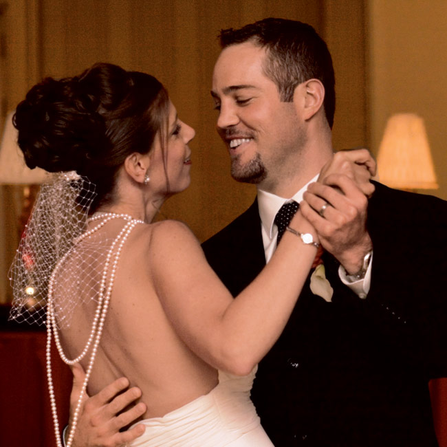 "Upon entering the reception, Kellie and Sean shared their first dance to ""One Love,"" performed by The Society Express Band."