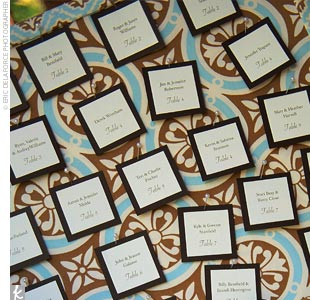 Anna created the escort cards and pinned them to a giant bulletin board, which was covered in the same fabric used for the table runners. Chris&#39; mother made small pincushions out of the same fabric so that guests had a place to put their pins after removing their cards.