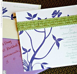 Bethany worked with a designer to create the letterpress-printed wedding day stationery, which featured the couple's purple and green colors as well as a feather and bird motif to showcase their theme.