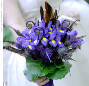 Bethany carried down the aisle a purple cluster of her favorite flowers: irises and hydrangeas.