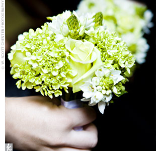 The bridesmaids carried bouquets of green roses, hydrangeas and star of Bethlehem.