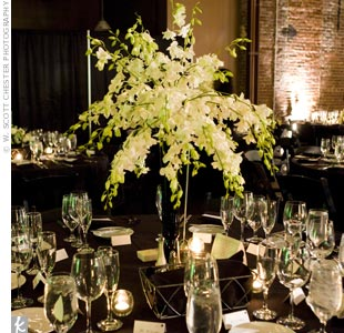 Sprays of green and white dendrobium orchids burst from black vases at the center of the tables.
