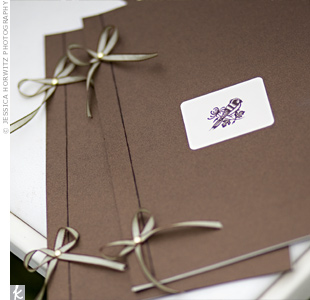 For the ceremony, friends of the couple read from booklets bound in chocolate-brown stock and decorated with a lovebird sticker.