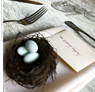 Guests took home traditional Italian wedding favors -- Jordan almonds -- in miniature bird nests.