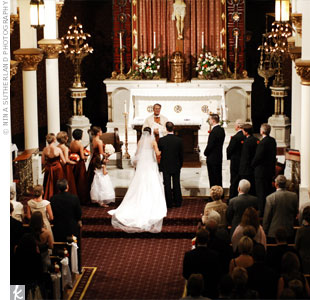 "Mary and Matt exchanged vows in a traditional Catholic ceremony that included a special prayer called the ""Blessing of the Hands"" to represent their friendship and life together."