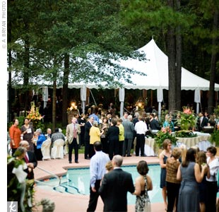 Guests enjoyed cocktails, dinner and dancing around the family's pool and under a 30-foot tent decorated with chandeliers and lighting.