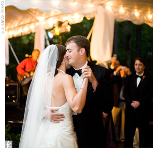 "The couple shared their first dance to ""Lost in this Moment"" by Big and Rich."