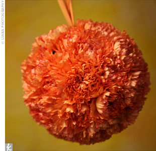 A pomander of bright orange carnations was a colorful accent to the flower girl's chocolate-brown dress.