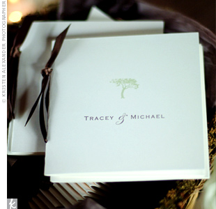 Ivory booklets printed with a green-tree motif and tied with chocolate brown ribbon detailed the interfaith ceremony.