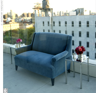 Plush lounge furniture in lush jewel tones added to the 1940s ambience at the party.