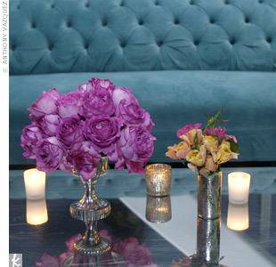 Roses added lush texture to the edgy chrome-style tables.