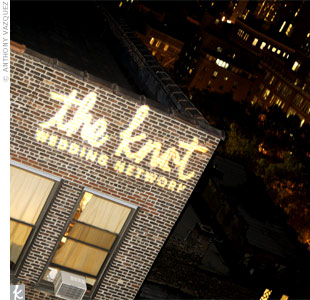 Party guests knew they'd arrived at the right location when they saw The Knot's logo projected onto the outside of the building.