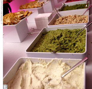The upscale cuisine included a variety of delicious spreads that were served up with crisp crostini rounds.