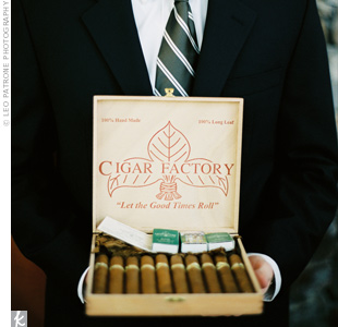 At the end of the wedding, Tyler and all of the men went outside to enjoy cigars, a gift from the best man.