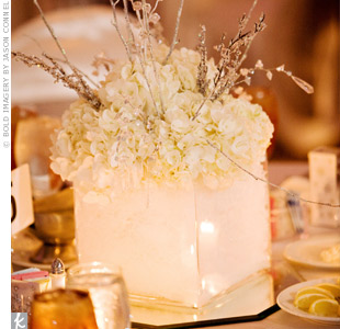 Heather and Michael's smaller centerpieces were made up of white hydrangeas, crystal sprays, iced branches, and snowflakes. The wintry centerpieces were set in square vases filled with faux snow.  Soft candlelight illuminated the arrangements.