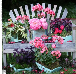 An Adirondack-type bench decorated with lush pink blooms served as the altar.